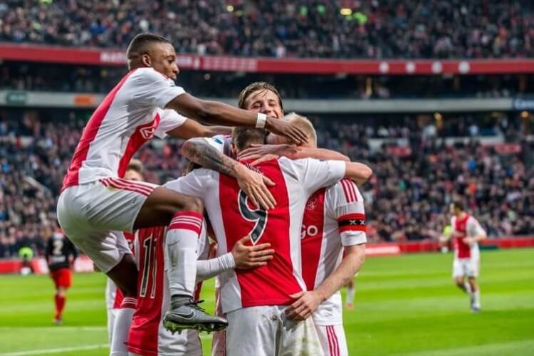 Ajax players celebrate