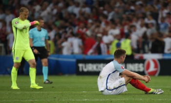 Disappointed England players