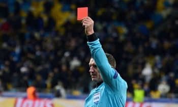 Referee shows red card