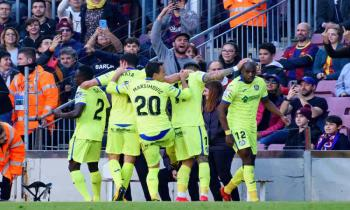Getafe players celebrate a goal