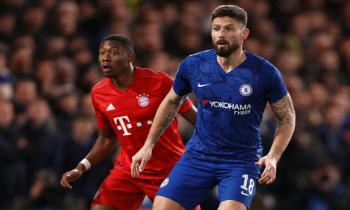 Olivier Giroud of Chelsea and David Alaba of Bayern Munich