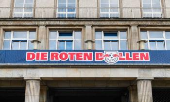Die Roten Bullen sign at Red Bull Arena in Leipzig